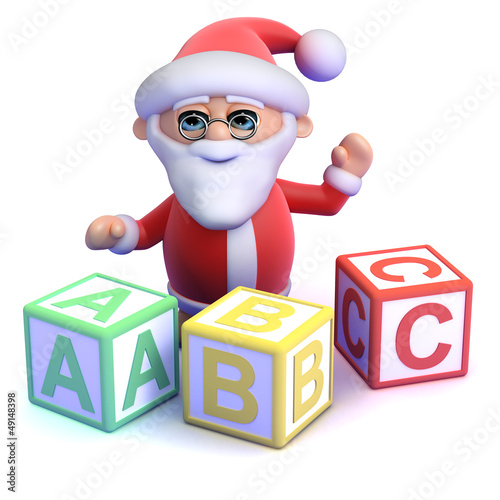 Santa learns his ABC with wooden blocks