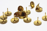 Brass drawing pins on a white background