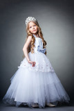 Pretty little girl in tiara and white dress
