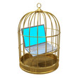 Birdcage with laptop inside
