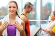 Smiling woman in a fitness club