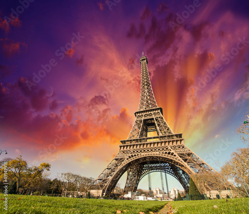 Wonderful view of Eiffel Tower in Paris. La Tour Eiffel with sun
