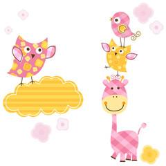 cute birds and giraffe