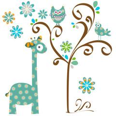 owl and giraffe