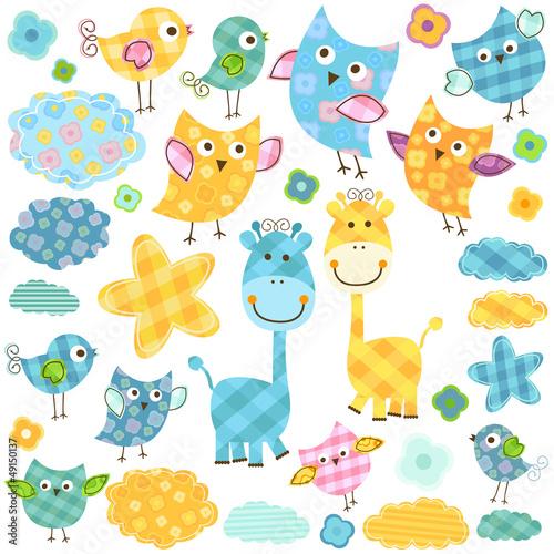 cute owls and giraffes