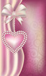 Valentine's Day vertical banner with pearls heart
