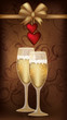 Love banner with champagne, vector illustration