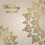 Stylish wedding invitation with round lace pattern