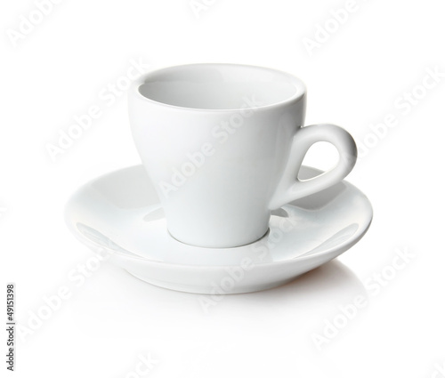 Empty coffee cup and saucer isolated