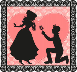 silhouette of a gentleman giving a flower to a lady