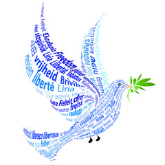 "Blue Dove with the word ""peace"" in all languages"