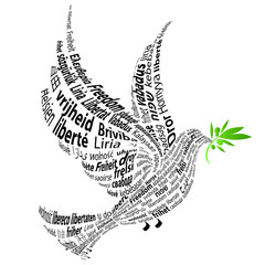 "Black Dove with the word ""Freedom"" in all languages"
