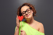 woman in funny glasses with paper heart