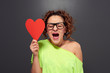 woman with big red heart