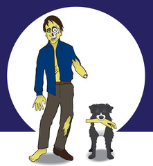 A zombie and his dog