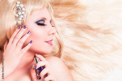 canvas print picture attraktive junge blonde Frau
