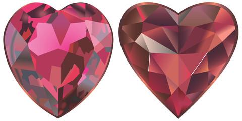 Deux coeurs de rubis et grenat