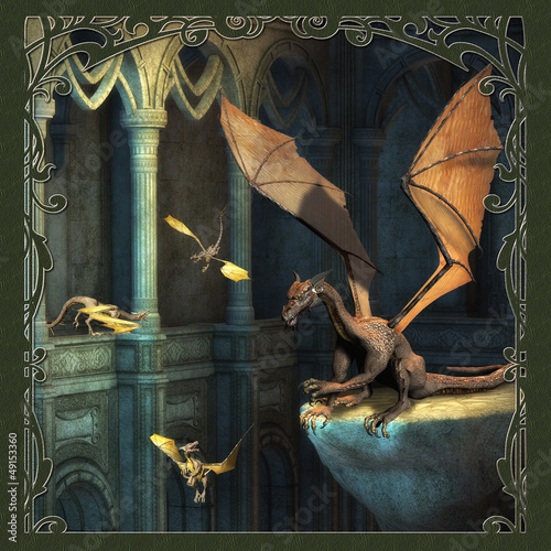 Fotobehang Draken Fantasy Scene With Dragons - Computer Artwork