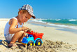 cute baby boy playing toys on beach