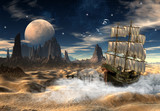 Sailing Ship In A Desert - Fantasy Scene