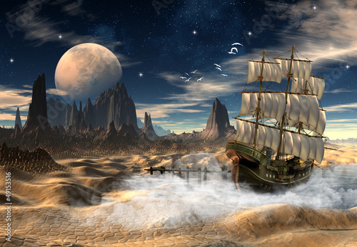Fototapeta Sailing Ship In A Desert - Fantasy Scene