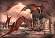 Fantasy Scene With Fighting Dragons