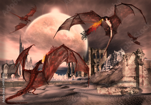 Tuinposter Draken Fantasy Scene With Fighting Dragons