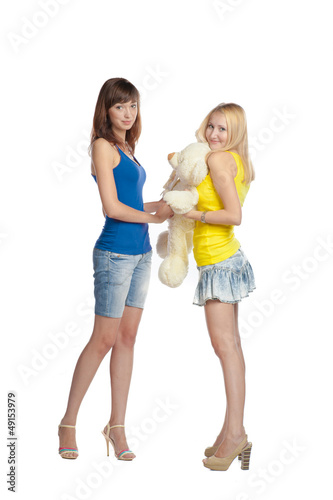 two sister with bear teddy