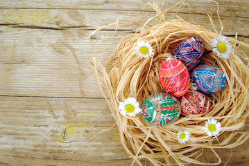 Easter rustic background with eggs