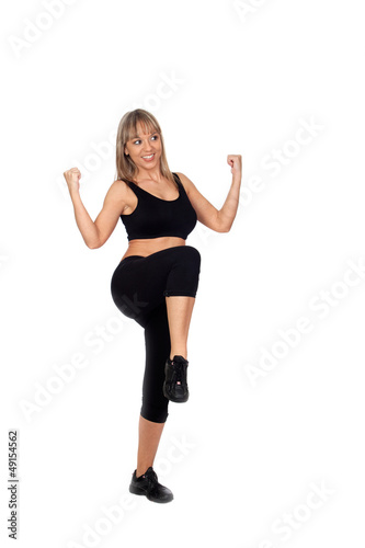 Woman in sportswear exercising