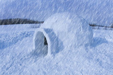 Igloo in snowstorm