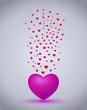 flying hearts romantic illustration