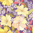 seamless pattern with white and lilac flowers. floral background