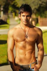 Shirtless guy outside