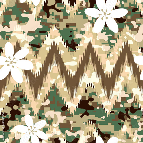 Modern seamless chevron camouflage pattern background