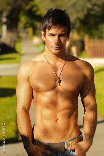 Shirtless guy outside