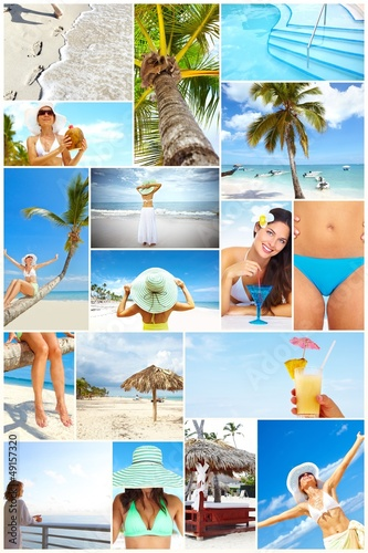 Exotic luxury resort collage.