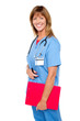 Smiling medical nurse with clipboard