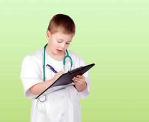 Funny child with doctor uniform