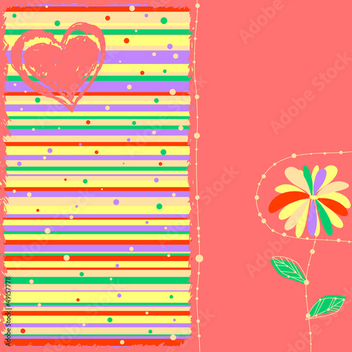 cute striped card with heart and flower