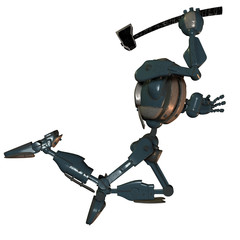 springender Roboter mit Axt