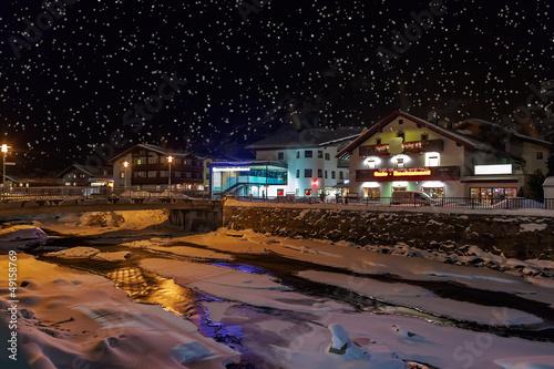 Mountains ski resort Solden Austria at night