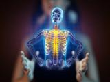 human radiography scan on hologram poster