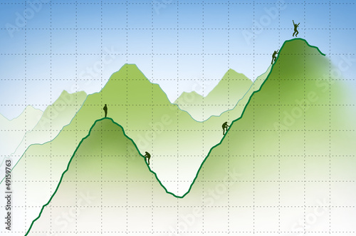 businessman climbing a financial graph