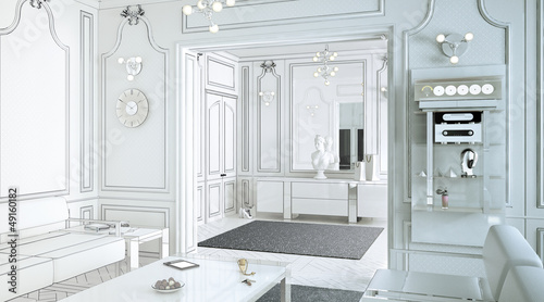Klassical Salon in neutral white (drawing)