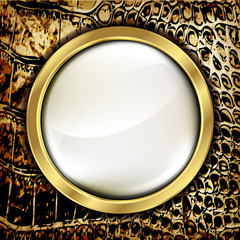 Leather background with golden elements.