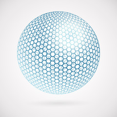 Abstract sphere of hexagons. background card