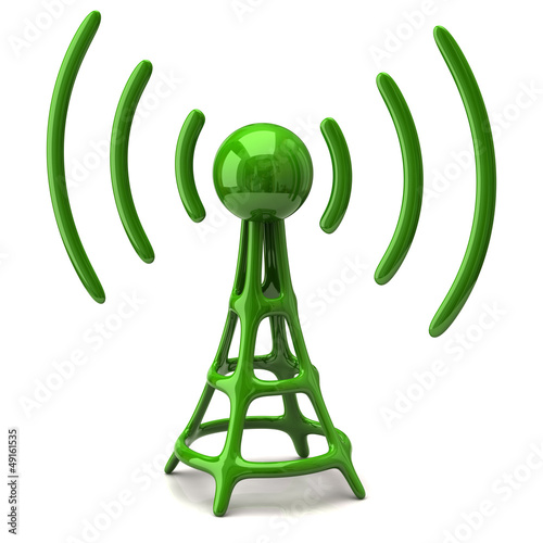 Green wireless icon on white background