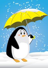 Penguin and ubrella snowing in antartica