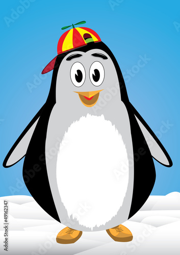 Penguin child with bonnet above the snow